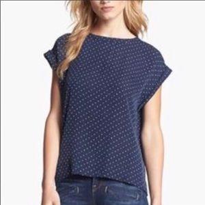 Theory Sorcha Star Print Short Sleeve Silk Top